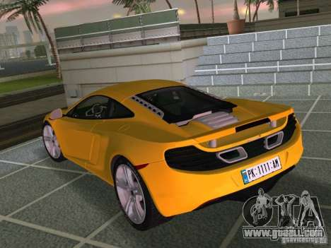 Mclaren MP4-12C for GTA Vice City inner view