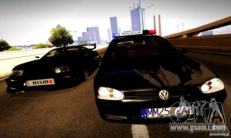 Volkswagen Golf Police for GTA San Andreas back view