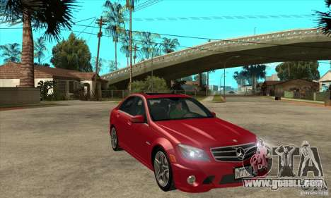Mercedes-Benz C63 AMG 2010 for GTA San Andreas engine