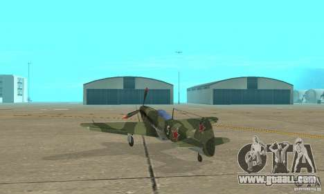 Yak-9 during WORLD WAR II for GTA San Andreas back left view