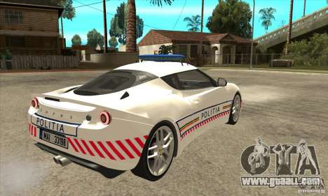 Lotus Evora S Romanian Police Car for GTA San Andreas right view