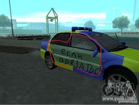 Mitsubishi Lancer Police for GTA San Andreas back view