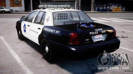 Ford Crown Victoria SFPD K9 Unit [ELS] for GTA 4 back left view