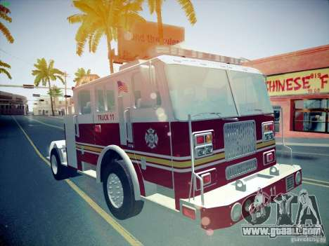 Seagrave Tiller Truck for GTA San Andreas back view