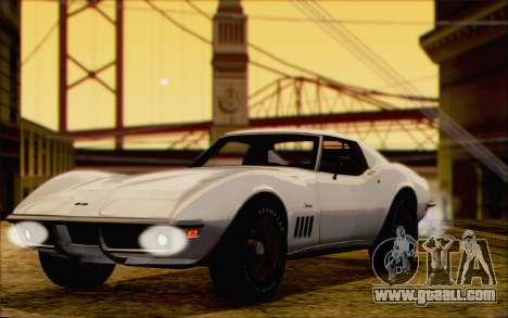 Chevrolet Corvette C3 Stingray T-Top 1969 for GTA San Andreas back left view