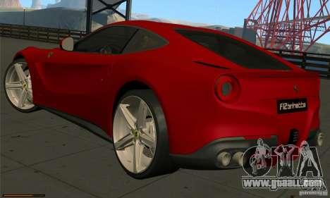 Ferrari F12 Berlinetta BETA for GTA San Andreas back left view