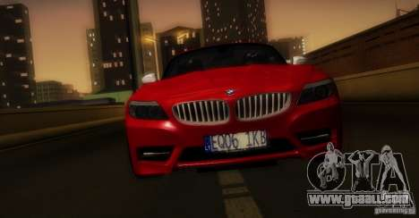 BMW Z4 Stock 2010 for GTA San Andreas bottom view