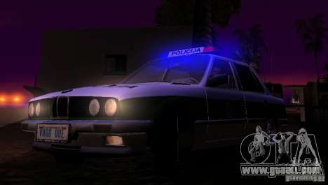 BMW E30 Sedan Police for GTA San Andreas inner view