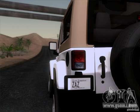Jeep Wrangler Rubicon for GTA San Andreas back left view