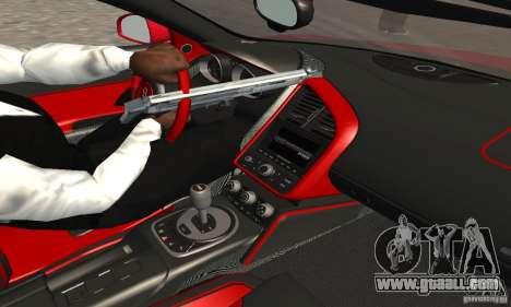 Audi R8 Spyder for GTA San Andreas inner view