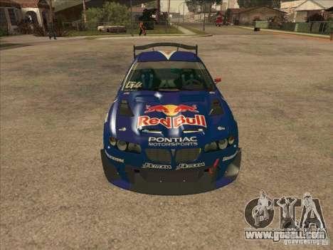 Pontiac GTO Red Bull for GTA San Andreas back view