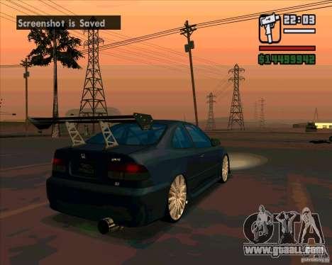 Honda Civic Tuned (corrected) for GTA San Andreas back left view