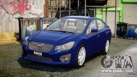 Subaru Impreza Sedan 2012 for GTA 4