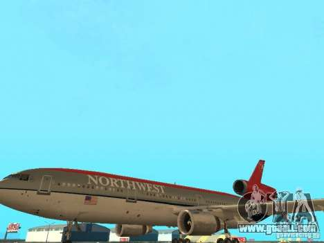 McDonell Douglas DC 10 Nortwest Airlines for GTA San Andreas side view