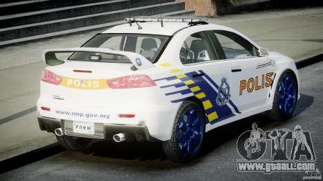 Mitsubishi Evolution X Police Car [ELS] for GTA 4 back left view