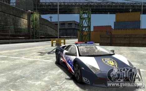 Lamborghini Reventon Police Stinger Version for GTA 4 back view