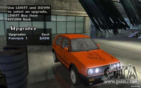 VW Golf Mk2 GTI for GTA San Andreas inner view