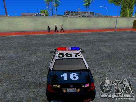 Ford Crown Victoria San Andreas State Patrol for GTA San Andreas back view