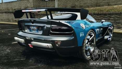Dodge Viper SRT-10 ACR ELITE POLICE for GTA 4 back left view