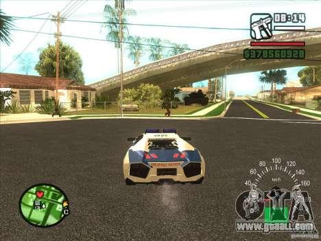 Lamborghini Reventon Police for GTA San Andreas back left view