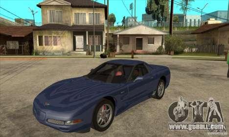 Chevrolet Corvette 5 for GTA San Andreas bottom view