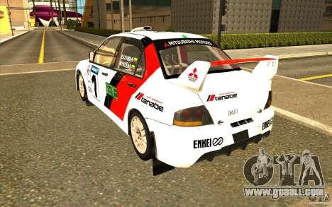 Mitsubishi Lancer Evo IX in the new vinyl for GTA San Andreas back left view