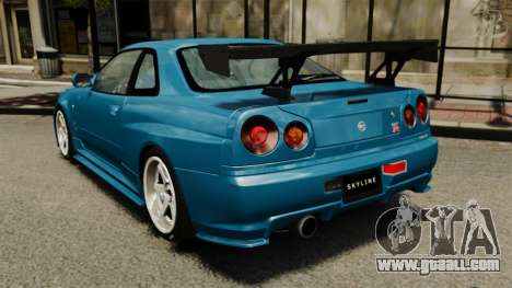 Nissan Skyline R34 2002 v1.1 for GTA 4 back left view