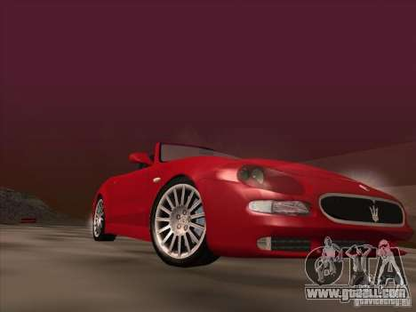 Maserati Spyder Cambiocorsa for GTA San Andreas bottom view
