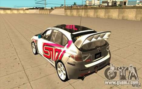 Subaru Impreza WRX STi with new vinyl unique for GTA San Andreas back left view