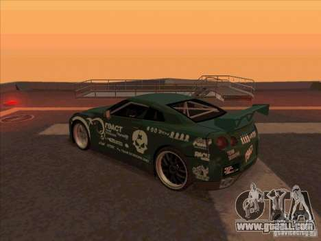 Nissan GT-R R35 rEACT for GTA San Andreas back left view