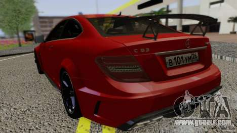Mercedes Benz C63 AMG Black Series 2012 for GTA San Andreas back left view