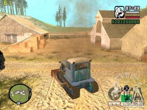 Bulldozer of DT-75 Kazakhstan for GTA San Andreas back left view