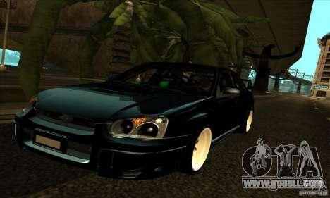 Subaru Impresa WRX light tuning for GTA San Andreas upper view