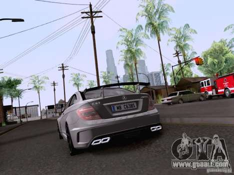 Mercedes-Benz C63 AMG Coupe Black Series for GTA San Andreas back view