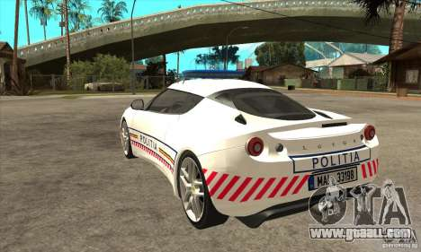 Lotus Evora S Romanian Police Car for GTA San Andreas back left view