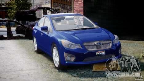 Subaru Impreza Sedan 2012 for GTA 4 back view
