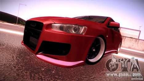 Mitsubishi Lancer Evolution X Tunable for GTA San Andreas back left view