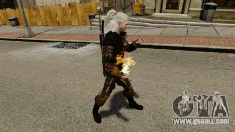 Fire in the hands of Geralt for GTA 4