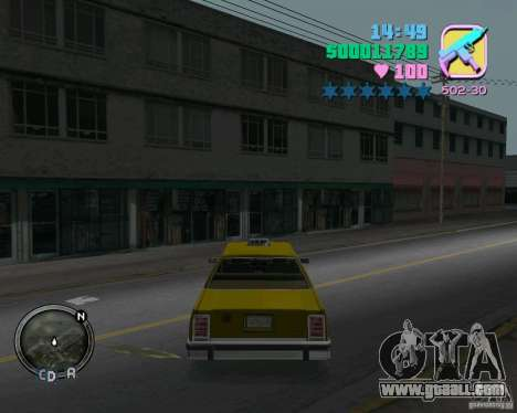 Ford Crown Victoria LTD 1985 Taxi for GTA Vice City right view