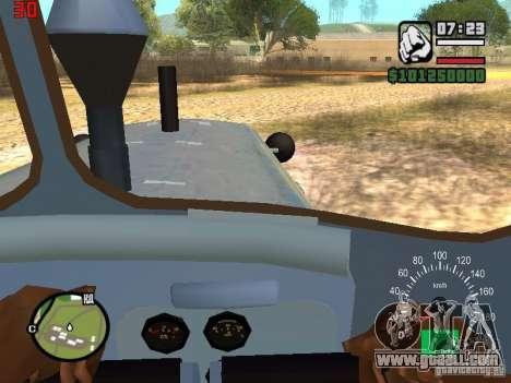 Bulldozer of DT-75 Kazakhstan for GTA San Andreas inner view
