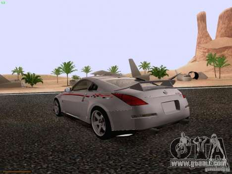 Nissan 350Z Nismo S-Tune for GTA San Andreas back left view