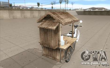 Honda Super Cub with a cart for GTA San Andreas upper view