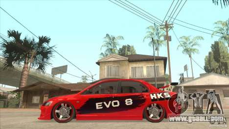 Mitsubishi Evo 8 Tuned for GTA San Andreas left view