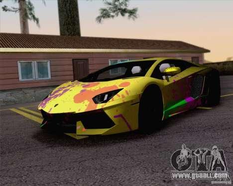Paint work Lamborghini Aventador LP700-4 for GTA San Andreas back left view