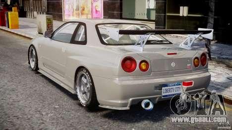Nissan Skyline R34 Nismo for GTA 4 back left view