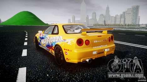 Nissan Skyline R34 GT-R Tezuka Goodyear D1 Drift for GTA 4 back left view
