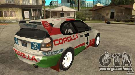 Toyota Corolla 1999 Rally Champion for GTA San Andreas inner view