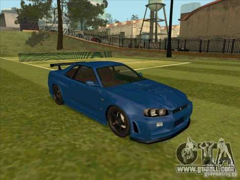 Nissan Skyline GT-R R34 from FnF 4 for GTA San Andreas right view