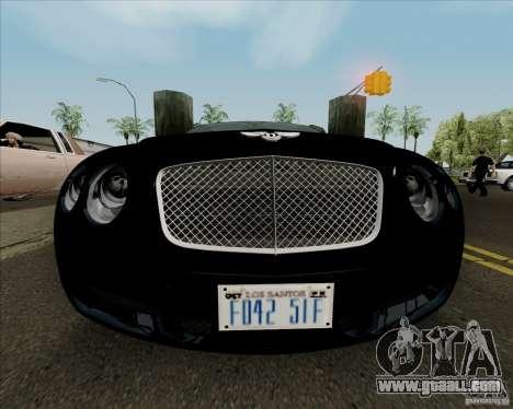 Bentley Continental GT V1.0 for GTA San Andreas bottom view