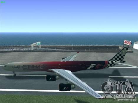 Airbus A340-600 Etihad Airways F1 Livrey for GTA San Andreas right view